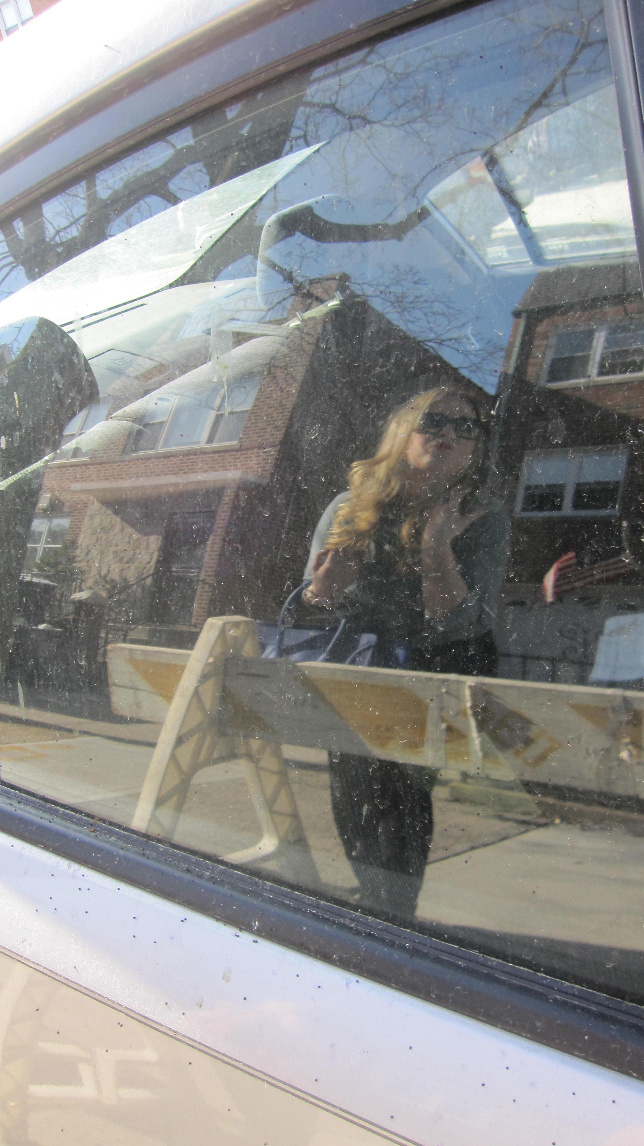 julie blue celine kissing car Cobalt blue and denim