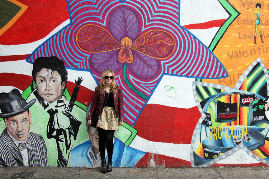 Julie in front of grafitti wall 21 Urban Jungle