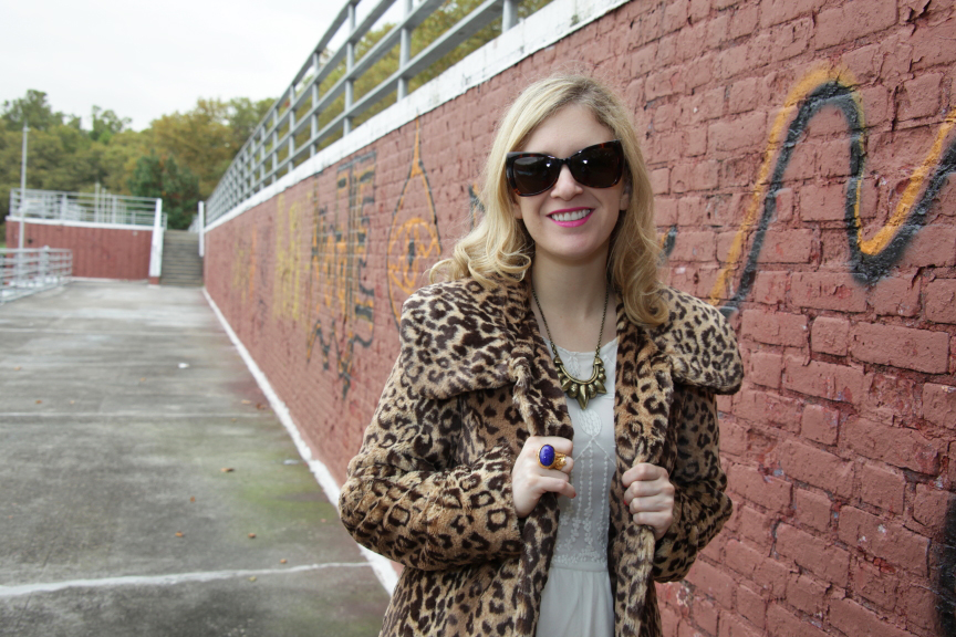 Julie leopard coat grafitti wall 2 White Fall Dress....two ways