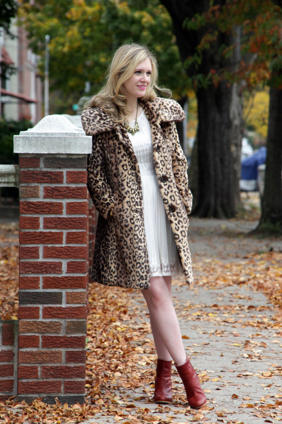 Julie leopard coat side street White Fall Dress....two ways