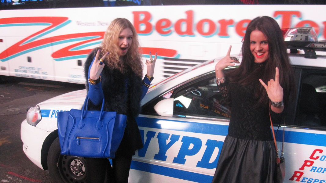 Julie and Nicola police car1 The Fashion Minx and The Sequin Cinderella in NYC!!!