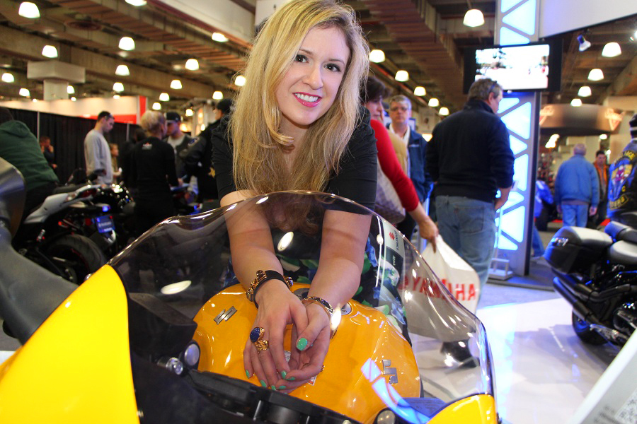 Julie at bike show