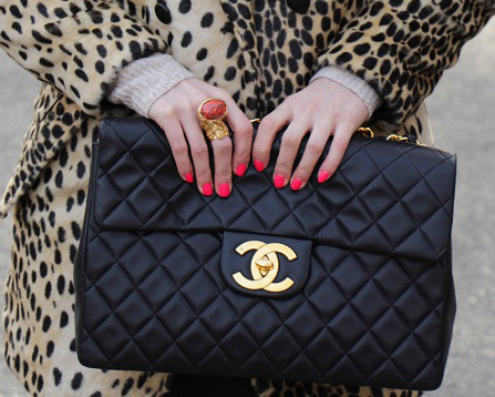 close up Chanel bag Asos Leopard Coat Giveaway!