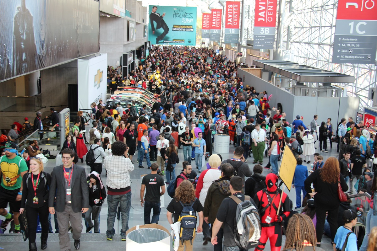 crowd Super Fashion with Super Heroes  NYC Comic Con 2013