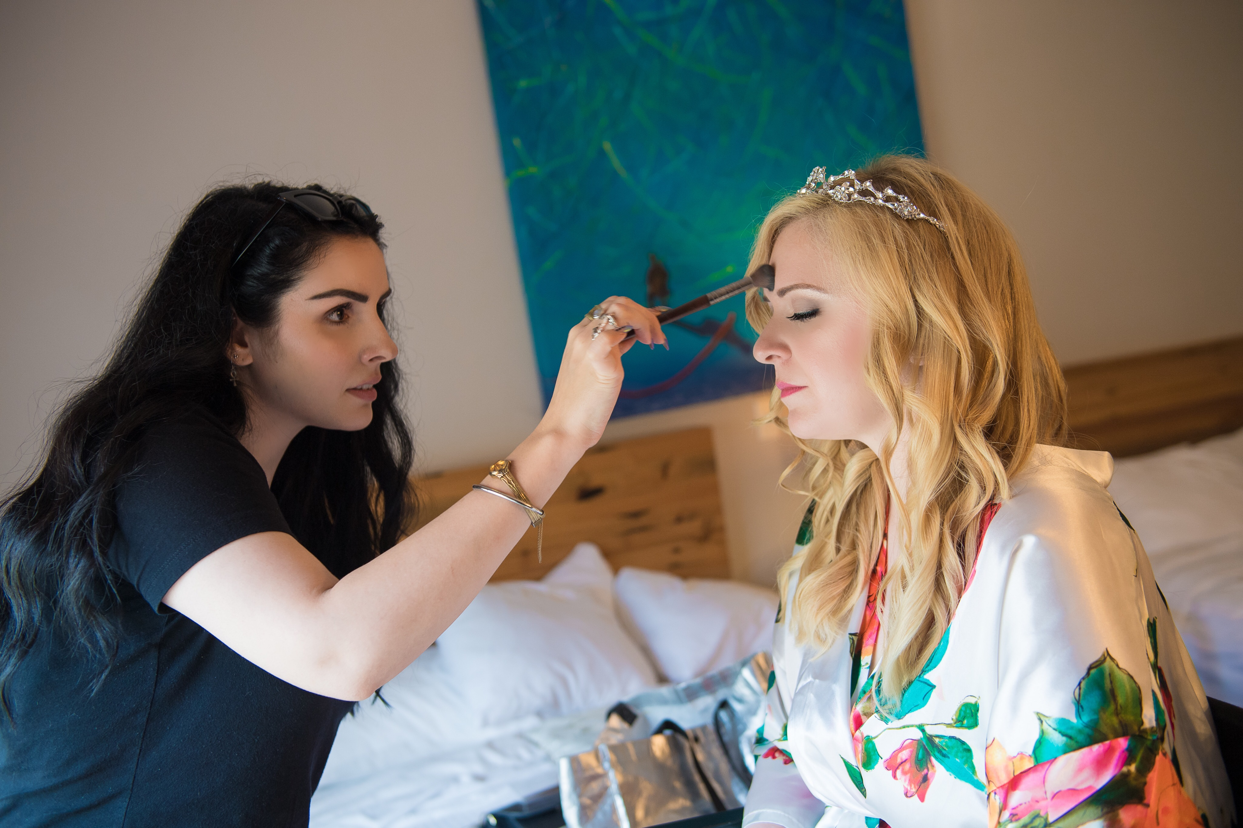 Julie makeup  Our Magical Wedding  Part One (Getting ready with your bridal party,  plus hotel room must haves!)